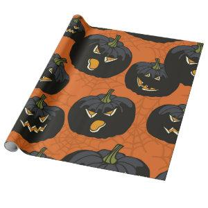 Black Halloween Pumpkins on Orange Wrapping Paper