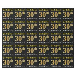 """Black, Imitation Gold """"30th BIRTHDAY"""" Wrapping Paper"""