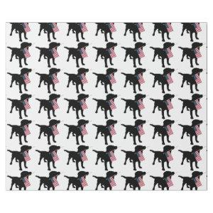 Black Lab Dog holding USA Flag, 4th of July Wrapping Paper