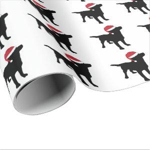 Black Labrador Retriever In Santa Hat Christmas Wrapping Paper