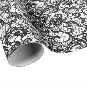 Black Lace on White Wrapping Paper