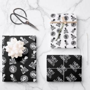 Black Lives Matter BLM Power Fist Collection Trio Wrapping Paper Sheets