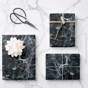 Black Marble Texture Wrapping Paper Sheets