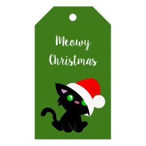 Black Meowy Christmas Kitty Gift Tags