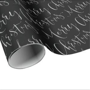 Black Merry Christmas Calligraphy Holiday Wrapping Paper