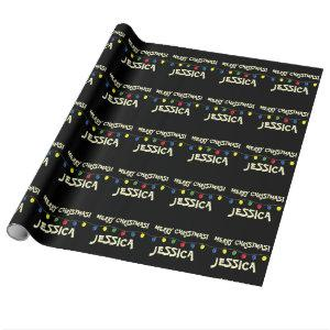 Black Merry Christmas tree lights wrapping paper