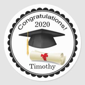 Black Mortar, diploma Your name Graduation Sticker