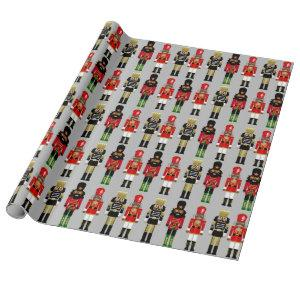 Black Nutcracker Soldier Stance Wrapping Paper
