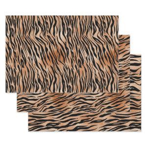 Black Orange Tiger Print Wrapping Paper Sheets