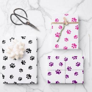 Black Pink and Purple Paw Prints Pattern Wrapping Paper Sheets