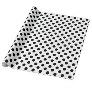 Black polka dots on white wrapping paper