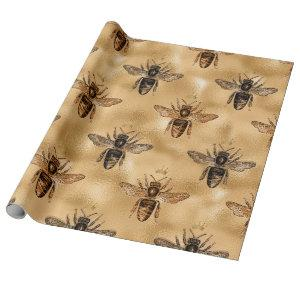 Black Queen Bees on Gold Wrapping Paper