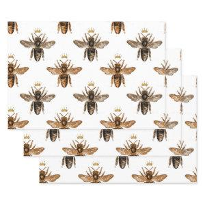 Black Queen Bees on White Wrapping Paper Sheets