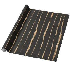 Black & Rose-gold Stripes Pattern Wrapping Paper