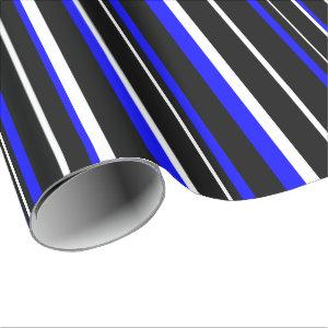 Black, Royal Blue, and White Stripe Wrapping Paper
