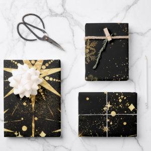 Black & Shimmering Gold Starbursts & Stardust Wrapping Paper Sheets