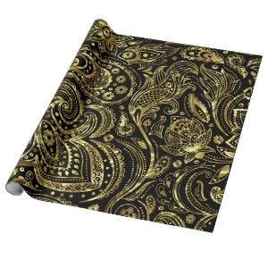 Black & Shiny Gold Vintage Paisley Pattern Wrapping Paper