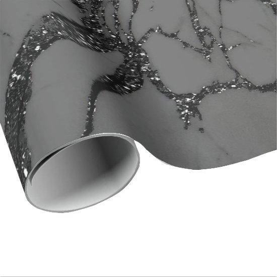 Black Spark Graphite Glitter Marble Stone Lux Gray Wrapping Paper