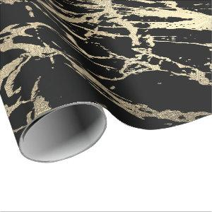 Black VIP Foxier Gold Marble Shiny Glam Wrapping Paper