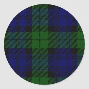 Black Watch clan tartan blue green plaid Classic Round Sticker