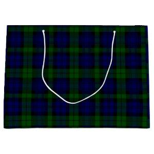 Black Watch clan tartan blue green plaid Large Gift Bag
