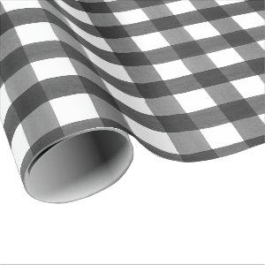 Black Watercolor Buffalo Plaid Wrapping Paper