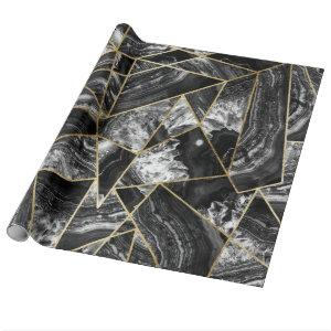 Black White Agate Black Gold Geometric Triangles Wrapping Paper