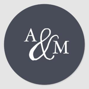 Black & White Ampersand Monogram Wedding Classic Round Sticker