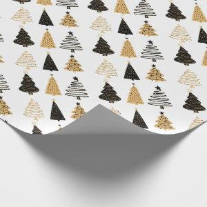 Black, White and Gold Whimsical Christmas Trees