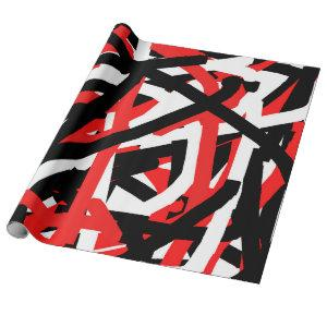 Black, White and Red Graffiti Art Wrapping Paper