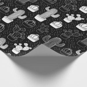 Black & White Cactus Doodle Pattern Wrapping Paper