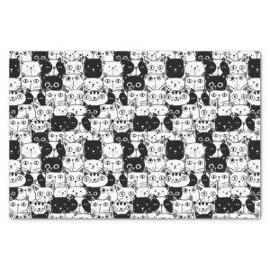 Black & White Cat Faces Pattern Birthday Party Tissue Paper