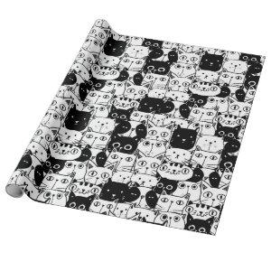 Black & White Cat Faces Pattern Birthday Party Wrapping Paper