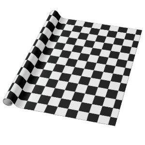 Black White Classic Checker Checkered Flag Wrapping Paper