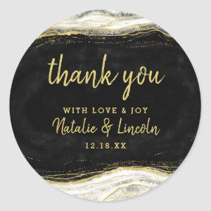 Black White & Gold Geode Agate Wedding Thank You Classic Round Sticker