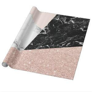 Black white marble blush pink rose gold glitter wrapping paper