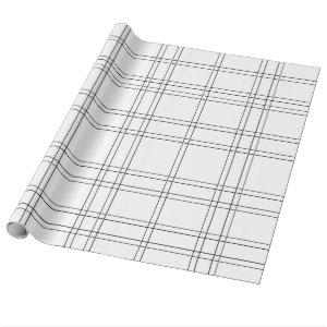 Black & White Minimal Modern Plaid Clean Pattern Wrapping Paper