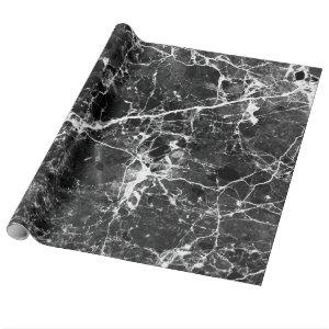 Black white modern chic marble texture patterns wrapping paper