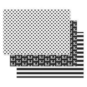 Black White Patterns Monogram4 Wrapping Paper Sheets