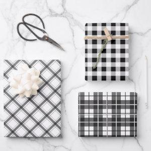 Black White Plaid Buffalo Check Mixed Pattern Wrapping Paper Sheets