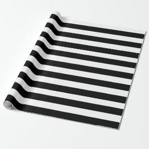 Black White Striped Modern Wedding Party Wrapping Paper