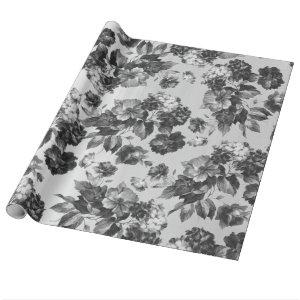 Black white vintage boho chic roses floral wrapping paper