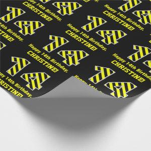 "Black & Yellow Striped ""14""; 14th Birthday + Name Wrapping Paper"