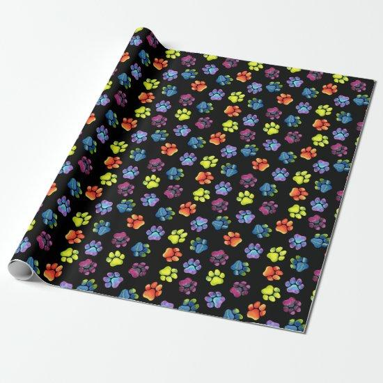 Blank Rainbow Paw Print Wrapping Paper