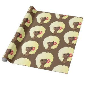 Blonde Natural Hair Beauty with Flower, Brown Wrapping Paper