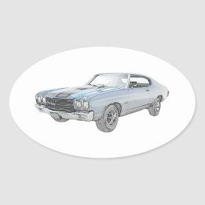 Blue 1970 Chevy Chevelle Pencil Style Drawing Oval Sticker