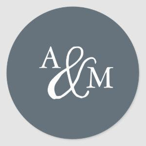 Blue Ampersand Monogram Wedding Classic Round Sticker