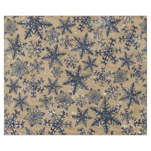 Blue and Brown Rustic Watercolor Snowflake Pattern Wrapping Paper