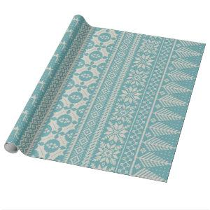 blue and cream fair isle knit sweater wrapping paper