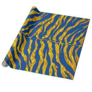 Blue And Gold Tiger Stripes Animal Print Wrapping Paper